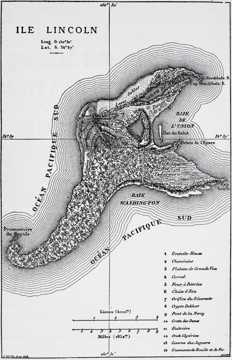 """Map of """"The Mysterious Island"""" by Jules Verne. NY: Scribner, Armstrong & Co., 1875. First American Edition"""