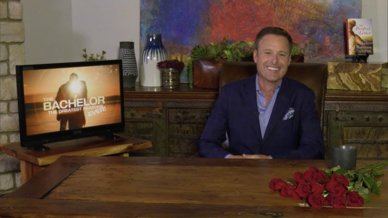 Chris Harrison Showing off The Perfect Letter on The Bachelor