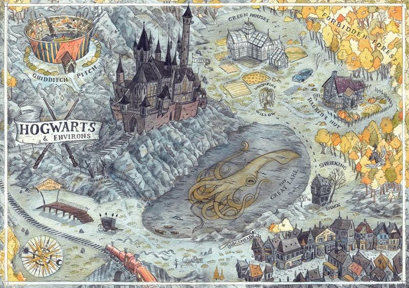 hogwarts map by Yulya Shironina on behance