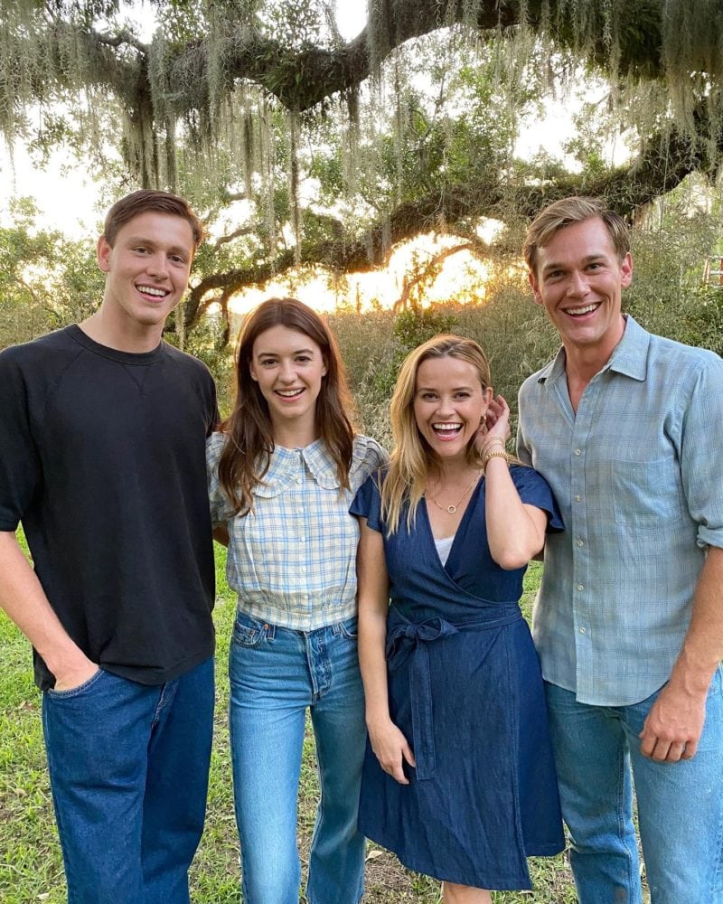 Reese Witherspoon on set with the Cast of Where the Crawdads Sing