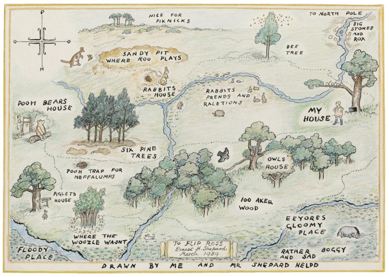 illustrated map of The Hundred Acre Wood, which features in the opening pages of A.A. Milne's Winnie-the-Pooh