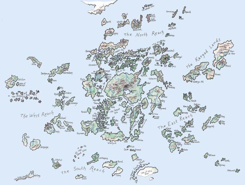 Map of Earthsea from Ursula LeGuin's Earthsea books