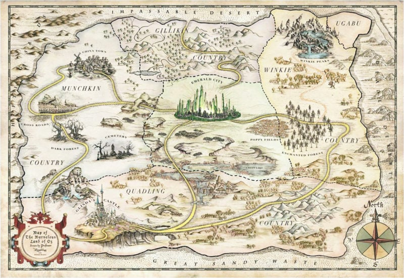 map of the land of oz from the wizard of oz