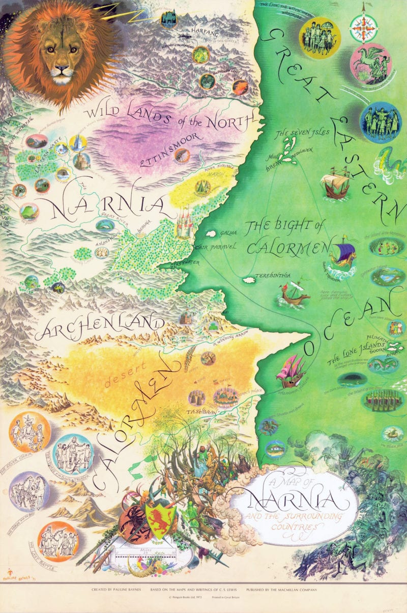 Map of Narnia from c.S. Lewis' world of Narnia, drawn by renowned illustrator Pauline Baynes