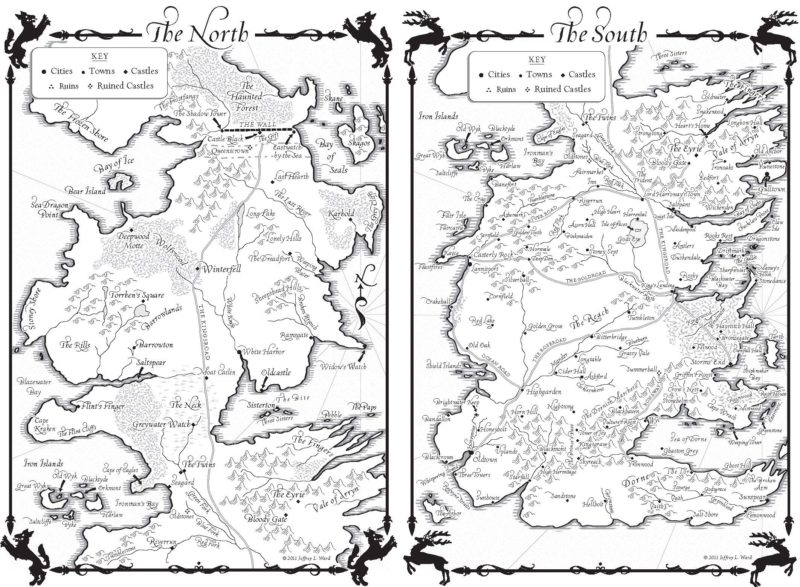 westeros map the game of thrones
