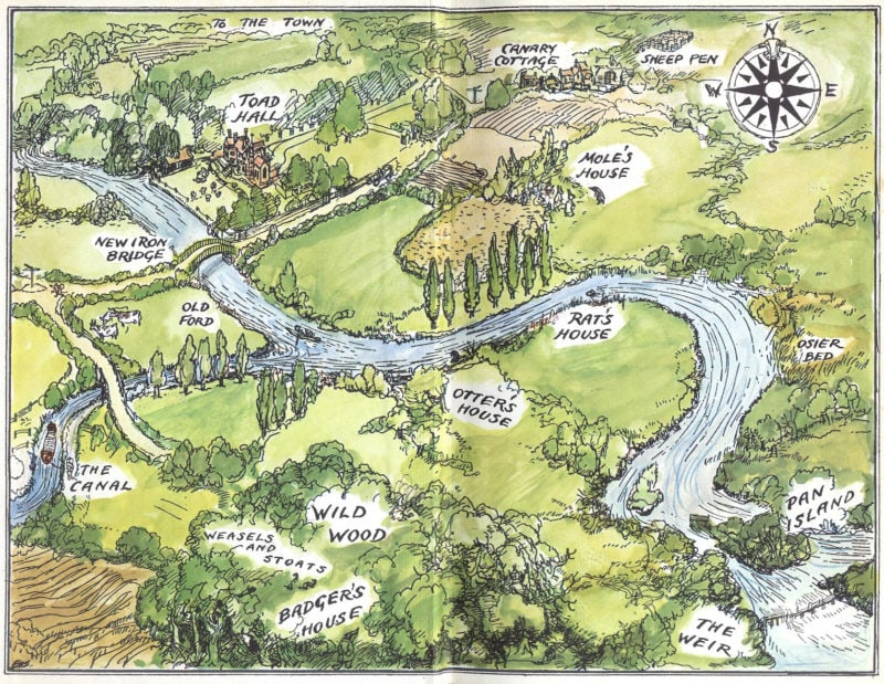 the wind in the willows the river bank map